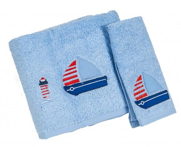 Σετ 2τμχ Πετσέτες Μπεμπέ Le Blanc Blue Boat 40x60 & 70x140