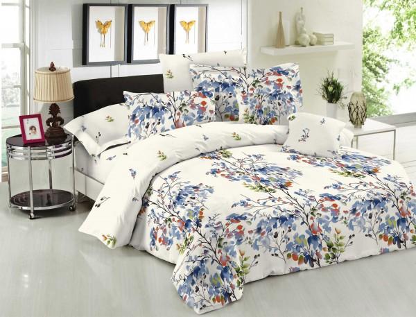 Κουβερλί ΚΟΜΒΟΣ Cotton Line Printed NATURE BLUE Μονό 160x240