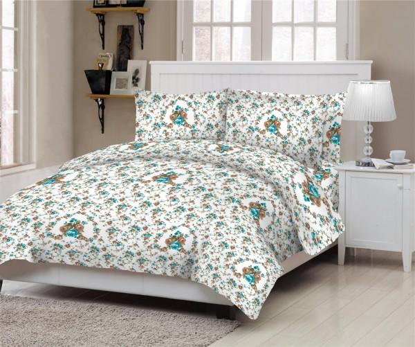 Κουβερλί ΚΟΜΒΟΣ Cotton Line Printed ROSE PETROL Υ/διπλό 220x240