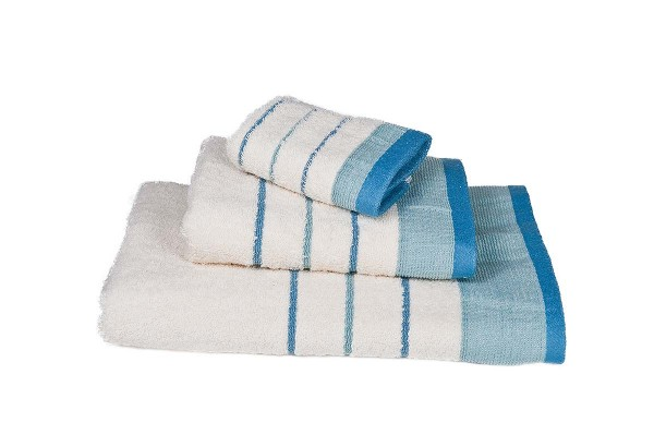 Πετσέτα Le Blanc Πεννιέ 550γρ/μ2 ρίγα νηματοβαφή Εκρού-Τυρκουάζ Χειρός 30x50