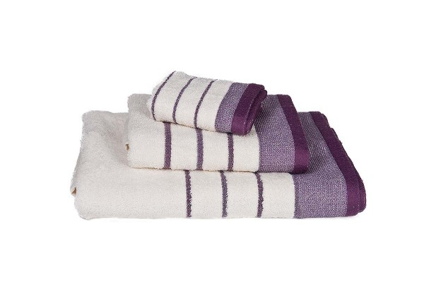 Πετσέτα Le Blanc Πεννιέ 550γρ/μ2 ρίγα νηματοβαφή Εκρού-Λιλά Χειρός 30x50