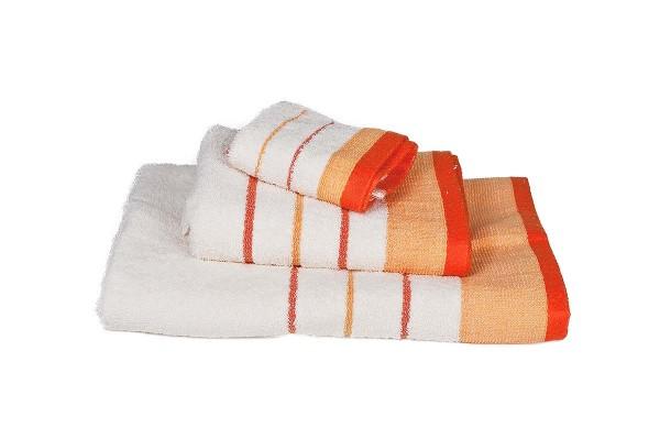 Πετσέτα Le Blanc Πεννιέ 550γρ/μ2 ρίγα νηματοβαφή Εκρού-Πορτοκαλί Χειρός 30x50