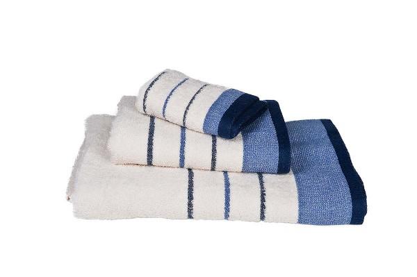 Πετσέτα Le Blanc Πεννιέ 550γρ/μ2 ρίγα νηματοβαφή Εκρού-Μπλε Χειρός 30x50