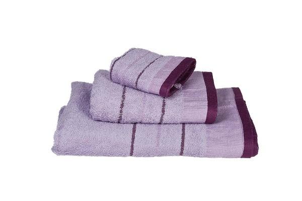 Πετσέτα Le Blanc Πεννιέ 550γρ/μ2 ρίγα νηματοβαφή Λιλά Προσώπου 50x95