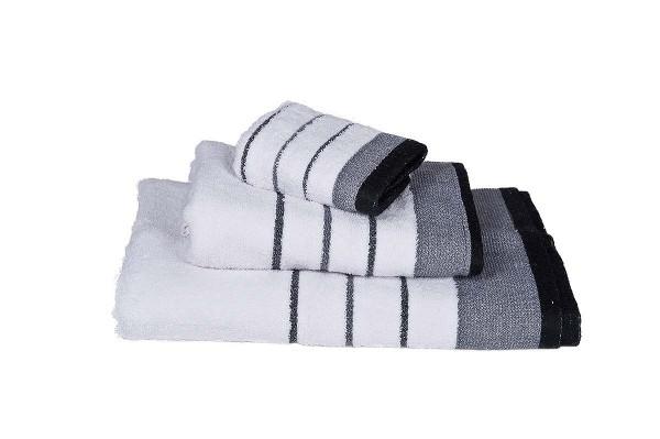 Πετσέτα Le Blanc Πεννιέ 550γρ/μ2 ρίγα νηματοβαφή Άσπρο-Μαύρο Προσώπου 50x95