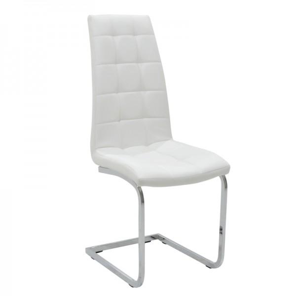 Καρέκλα Darrell pakoworld PU λευκό-βάση χρωμίου