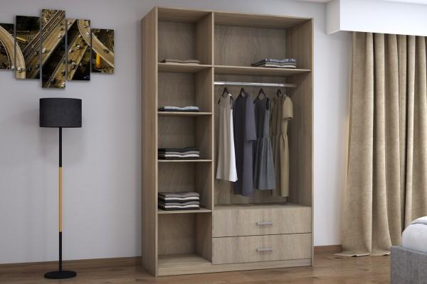 Ντουλάπα ρούχων Royal pakoworld τρίφυλλη με πατάρι χρώμα sonoma 150x58x230