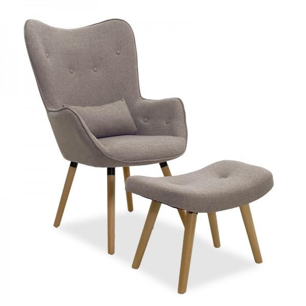 Πολυθρόνα Pearl set pakoworld με σκαμπό και μαξιλάρι σε γκρι-μπεζ ύφασμα