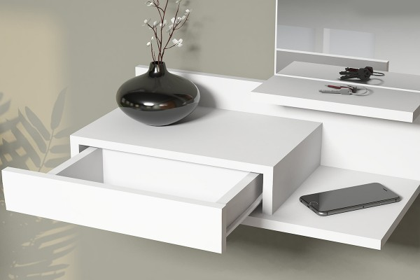 Κονσόλα τοίχου Mode Coat με καθρέφτη λευκό χρώμα 60x30x80