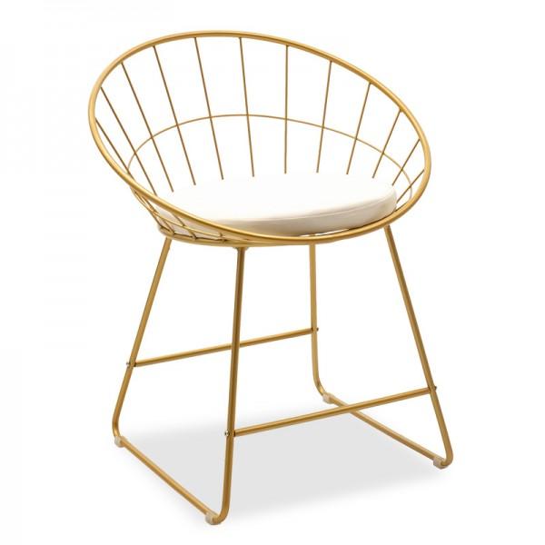 Καρέκλα Seth pakoworld μεταλλική χρυσό με μαξιλάρι PVC λευκό