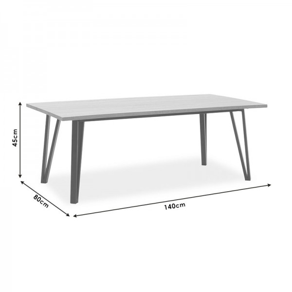 Τραπέζι σαλονιού Justin pakoworld MDF μεταλλικό γκρι cement-μαύρο 140x80x45εκ