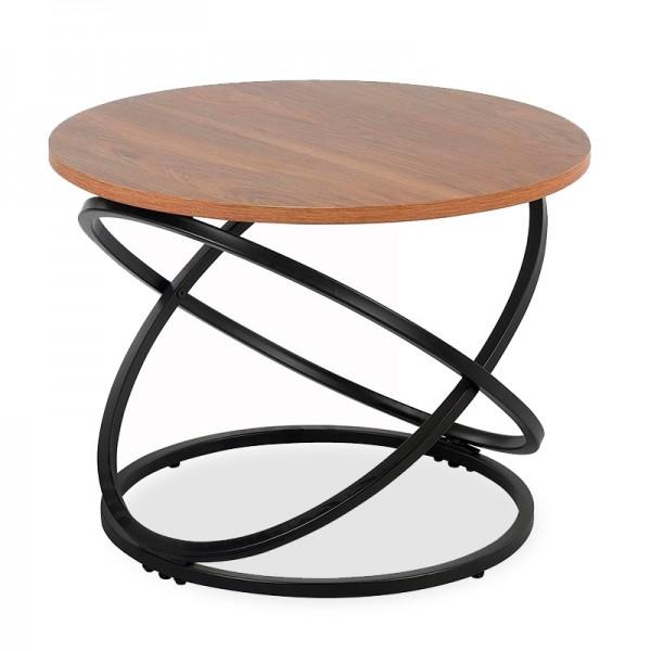 Βοηθητικό τραπέζι Tao pakoworld MDF μεταλλικό καρυδί-μαύρο Φ60x46εκ