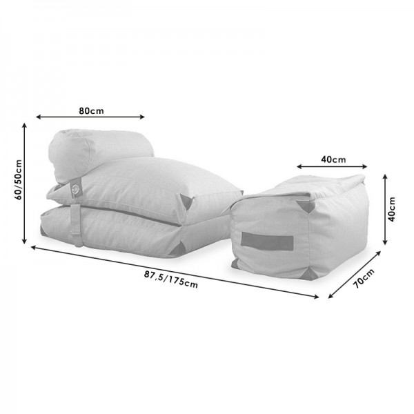 Πολυθρόνα πουφ - κρεβάτι Todd pakoworld ύφασμα γκρι-εκρού