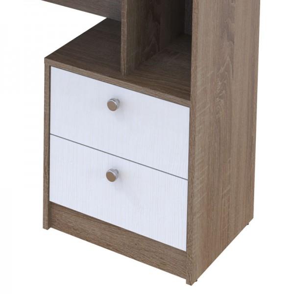 Γραφείο Landon pakoworld με ραφιέρα-συρταριέρα truffle oak-λευκό 136x55x138εκ
