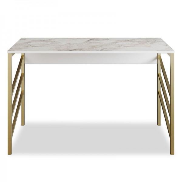 Γραφείο - κονσόλα PWF-0334 pakoworld χρώμα λευκό μαρμάρου-χρυσό 120x60x75εκ