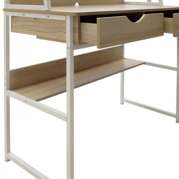 Γραφείο Ryan pakoworld με ραφιέρα και συρτάρια-MDF φυσικό-λευκό 100x48x138εκ