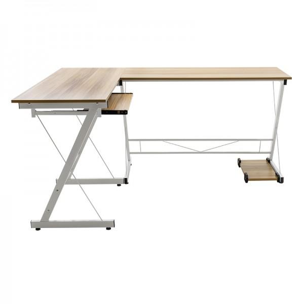 Γραφείο γωνιακό Levi pakoworld-MDF χρώμα oak-λευκό 158x120x73εκ