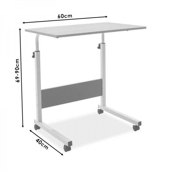 Γραφείο Piper pakoworld με αυξομείωση ύψους-MDF φυσικό-λευκό 60x40x69-90εκ