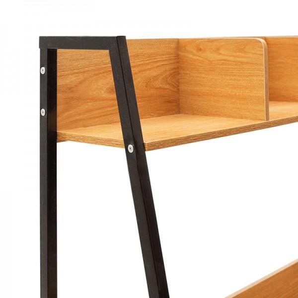 Γραφείο Ryan pakoworld με ραφιέρα και συρτάρια-MDF χρώμα κερασί oak-μαύρο 100x48x138εκ