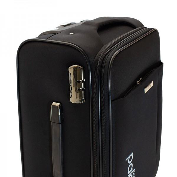 Βαλίτσα καμπίνας Adventure pakoworld με 4 ρόδες υφασμάτινη μαύρo 38x24x60εκ
