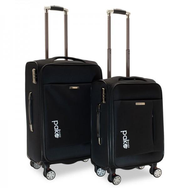 Σετ βαλίτσες Adventure pakoworld 2 τμχ τροχήλατες υφασμάτινες χρώμα μαύρο