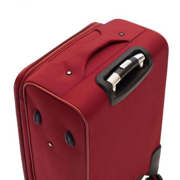 Σετ βαλίτσες Adventure pakoworld 2 τμχ τροχήλατες υφασμάτινες χρώμα κόκκινο