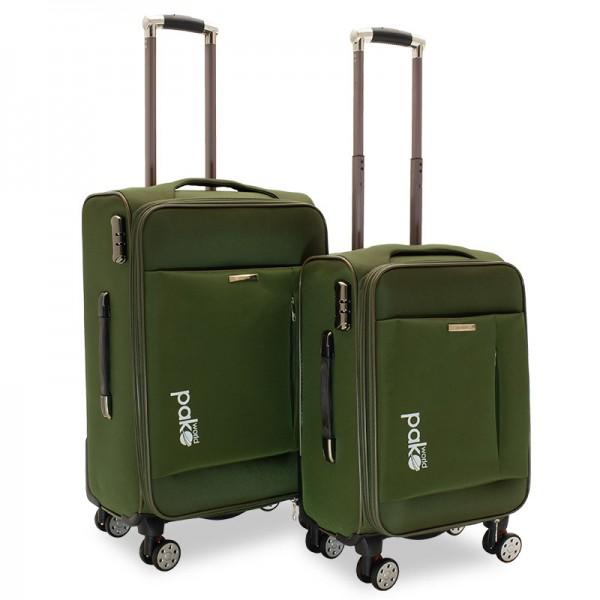 Σετ βαλίτσες Adventure pakoworld 2 τμχ τροχήλατες υφασμάτινες χρώμα κυπαρισσί