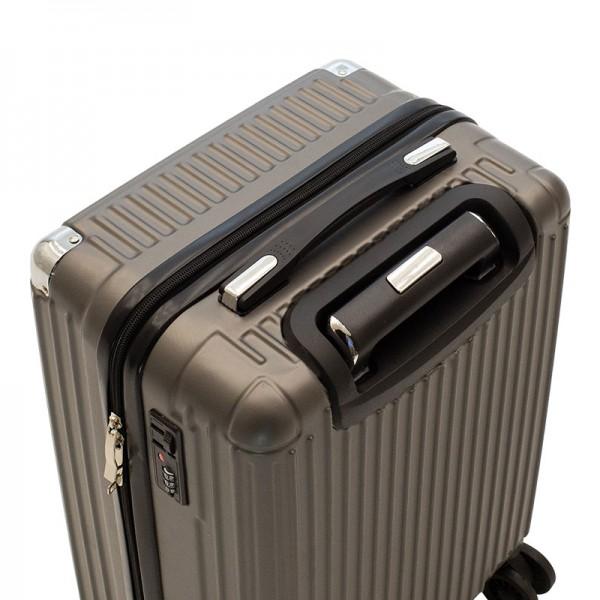 Βαλίτσα καμπίνας Venezia pakoworld με 4 ρόδες σκληρή από ABS+PC ασημί 36,5x25x57,5εκ