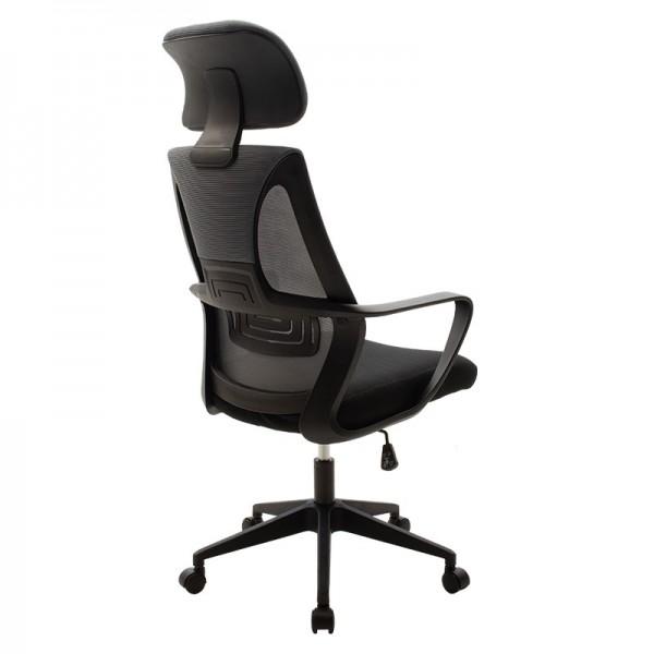 Καρέκλα γραφείου διευθυντή Dolphin pakoworld με ύφασμα mesh χρώμα μαύρο-γκρι