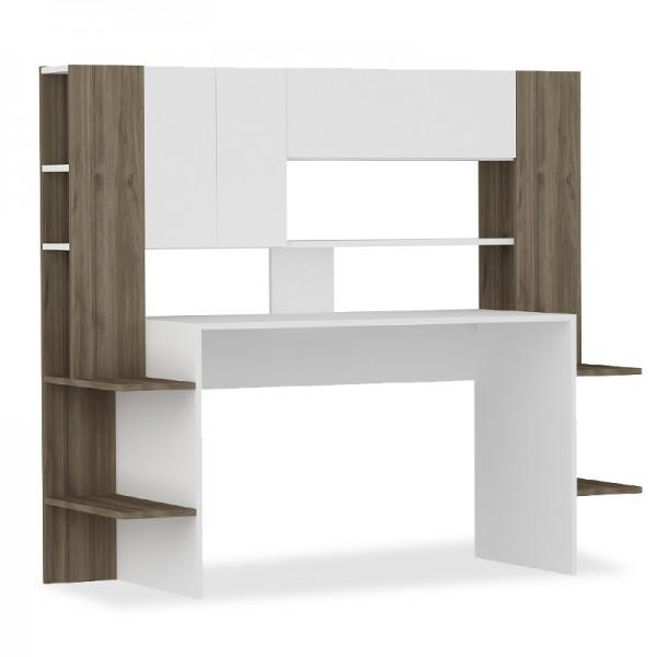 Γραφείο με βιβλιοθήκη Logan pakoworld χρώμα λευκό-καρυδί 159x57x140εκ
