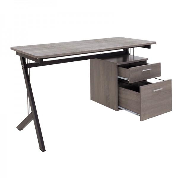 Γραφείο Workman pakoworld MDF χρώμα γκρι καφέ-μαύρο 130x60x76εκ