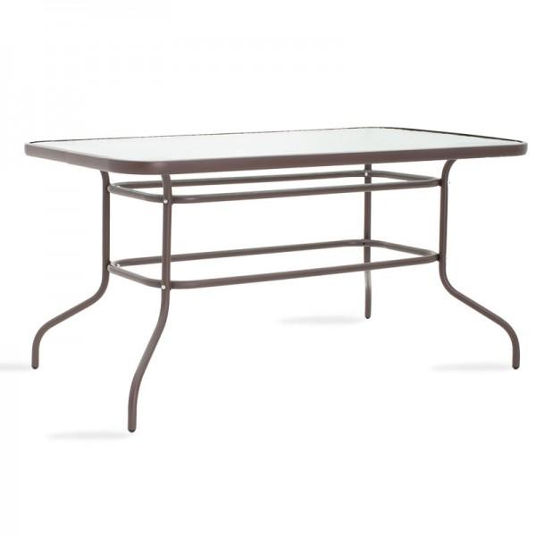 Τραπέζι κήπου Valor pakoworld μέταλλο καφέ-γυαλί 140x80x70εκ