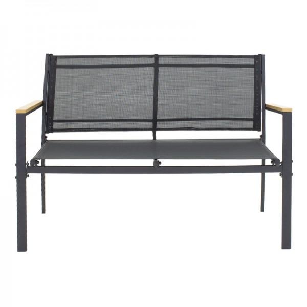 Σαλόνι κήπου Jacie pakoworld σετ 4τμχ μέταλλο μαύρο-textilene μαύρο