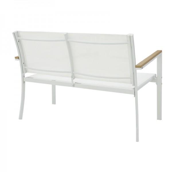 Σαλόνι κήπου κήπου Jacie pakoworld σετ 4τμχ μέταλλο λευκό-textilene λευκό