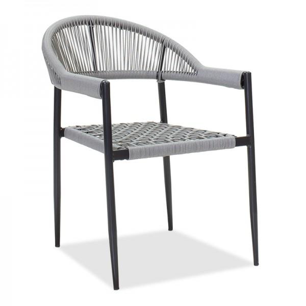 Πολυθρόνα κήπου Tiana pakoworld μέταλλο μαύρο-pe γκρι