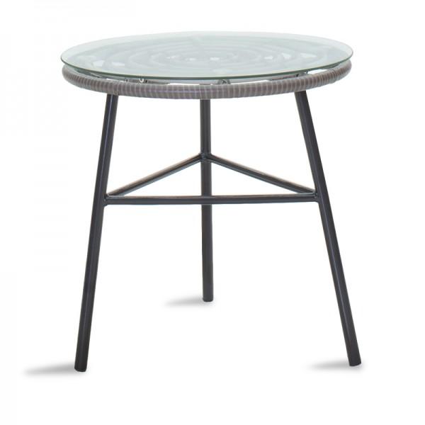 Τραπέζι κήπου Gaus pakoworld μέταλλο μαύρο-pe γκρι-γυαλί Φ45x46εκ