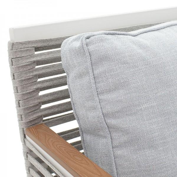 Σαλόνι κήπου Riven pakoworld σετ 5τμχ μέταλλο λευκό-ύφασμα γκρι