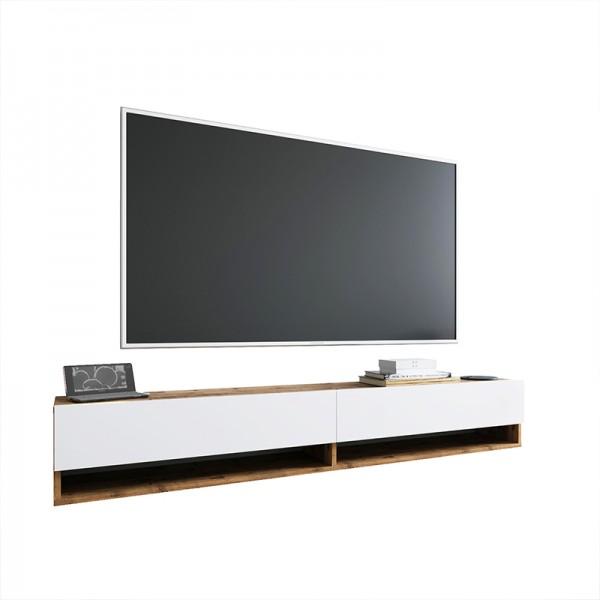 Έπιπλο τηλεόρασης επιτοίχιο Handra pakoworld λευκό-oak 180x31,5x29,5εκ