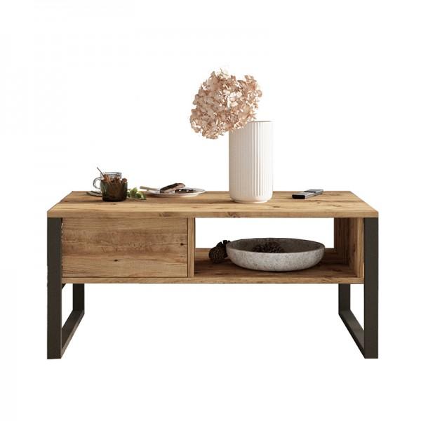 Τραπέζι σαλονιού Honora pakoworld oak-μαύρο 100x60x44,5εκ