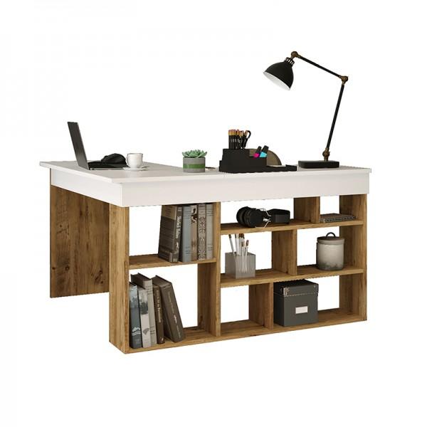 Γραφείο γωνιακό Rosaline pakoworld λευκό-oak 120x129x72εκ