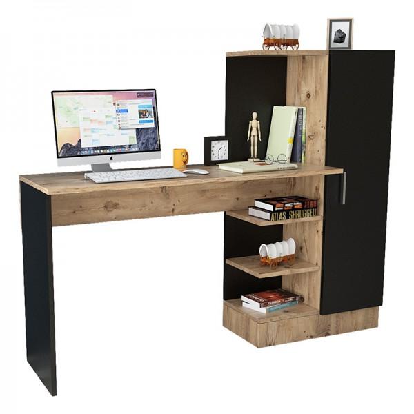 Γραφείο-ραφιέρα Kary pakoworld μαύρο-oak 152,5x40x120εκ